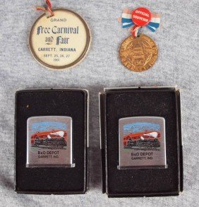 Lot Of 4 Garrett, Indiana Souveniers - 2 Pins And