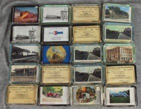 Lot Of 20 Glass Paperweights With Railroad Related