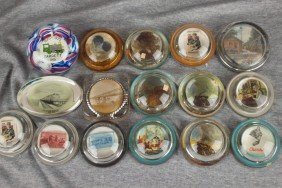 Lot Of 16 Glass Paperweights Most With Railroad Mot