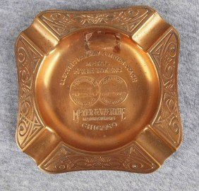 "Brass Advertising Ashtray ""Electric Railway & Moto"