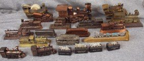 Lot Of 21 Train Desk Paperweights And Accessories