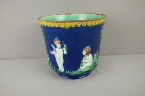 Majolica Cobalt Jardiniere With Puttis, Nice Color,