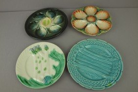 Majolica Lot Of 2 French Oyster Plates And 2 French