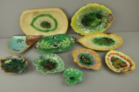 Majolica Lot Of 10 Trays And Platters, Various Con
