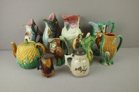 Majolica Lot Of 10 Pitchers, Figural Jugs, Teapot