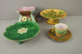Majolica Lot Of 4 Pieces - 2 Compotes, Spittoon, A