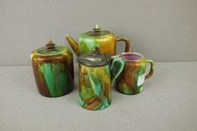 Majolica Mottled 4 Piece Set With Teapot, Sugar, C