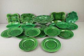 Majolica Lot Of 19 Dark Green Items - Plates, Tray
