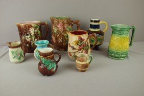 Majolica Lot Of 9 Pitchers And Creamers, Various C