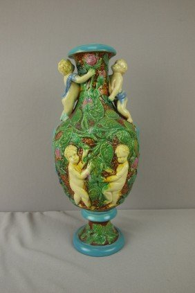 BROWNFIELD Wild Rose Vase With Puttis, Restoration