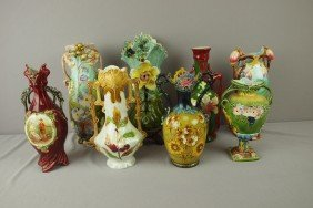 "Continental Majolica Lot Of 8 Vases, 11"" Average,"