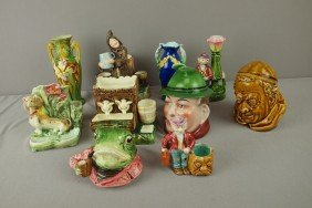 Continental Majolica Lot Of 10 Items Match Striker