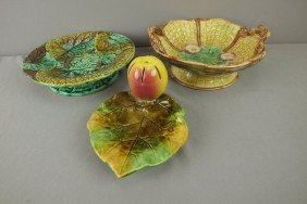 Majolica Lot Of 2 Compotes And One Fruit Knife Tra