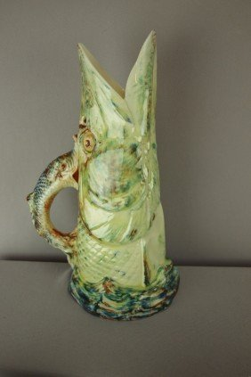ROYAL WORCESTER Figural Pike Fish Pitcher, Profess