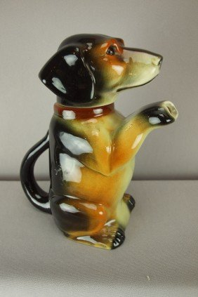 German Majolica Figural Dog Teapot, 8""