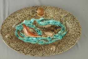 Choisy-le-Roi French Palissy Ware Oval Tray With F