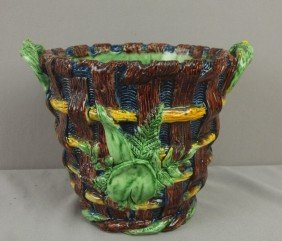 Palissy Ware Majolica Basket Jardiniere With Two H