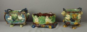 Majolica Lot Of Of 3 Small Palissy Planters With F