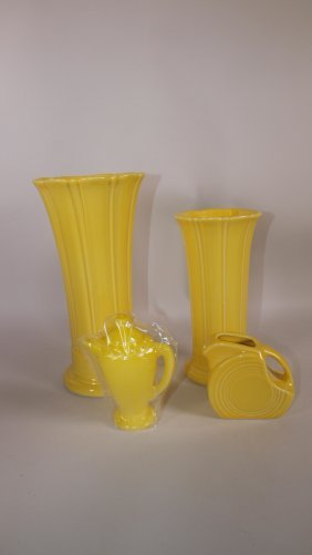 "Fiesta Post 86 Sunflower 8"" And Medium Vases, Mini Disk"