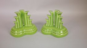 Fiesta Post 86 Chartreuse Pyramid Pair Candle Holders