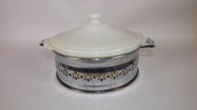 Fire King Opaque Casserole With Metal Carrier