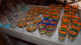 Fiesta Glass Go-along Striped Tumblers, Goblets, &