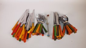 Fiesta Go-along Large Lot Of Flatware With Baklite