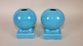Fiesta Pair Turquoise Bulb Candle Holders