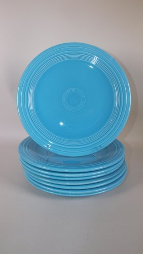 """Fiesta 10"""" Plate Group: Lot Of 8 Turquoise"""