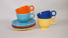 Fiesta Cup & Saucer Group: Lot Of 4 Mixed Colors