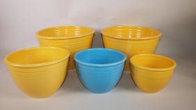 Fiesta Mixing Bowl Lot Of 5 Assorted Bowls, Nicks And