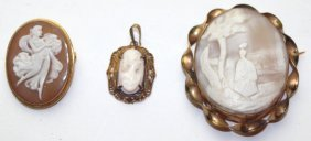 Lot Of 3 Cameos: 2 Brooches And One Pendant