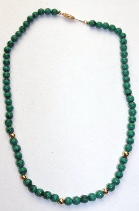 Malachite And 14k Gold Beaded Necklace