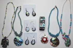 Le Sands Lot Of Mop Or Abalone Jewelry