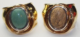 Robert Lee Morris (rlm) Sterling Silver And Brass Pair
