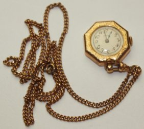 "Elgin 14k Yellow Gold 15j ""lady Elgin"" Pendant Watch,"