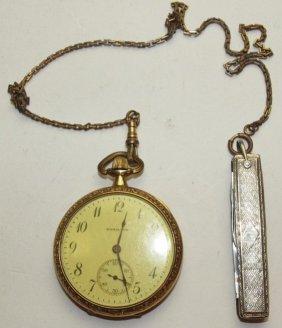 Hamilton O.f. 17j Pocket Watch With Chain And Knife Fob