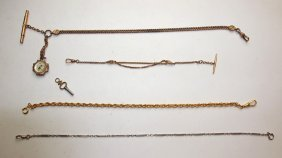 Lot Of 4 Pocket Watch Chains And One Key