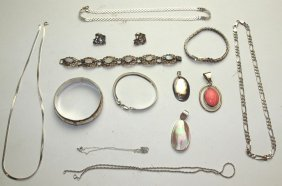 Sterling Silver Lot Of Necklaces, Bracelets, Earrings,