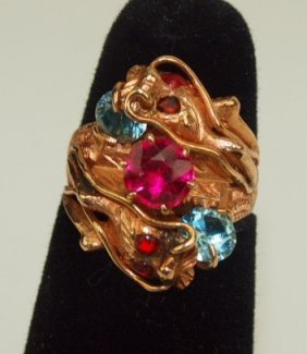 14k Yellow Gold Dragon Ring With Rubies And Aquamarine
