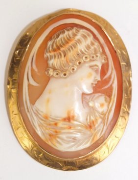 10k Yellow Gold Large Mounted Cameo Brooch