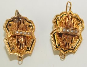 18k Yellow Gold Pair Of Clips, 14.6g