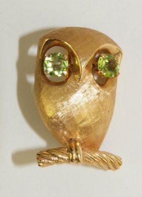 14k Yellow Gold Owl Brooch, 8g