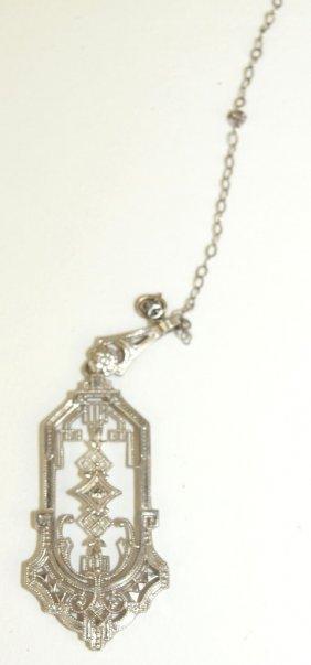14k White Gold Antique Filagree Pendant With Diamond
