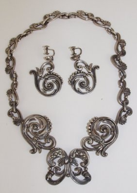 Margot De Taxco Sterling Silver Necklace And Earring