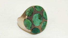 Margot De Taxco Sterling Silver & Malachite Ring