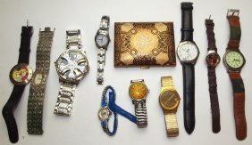 Lot Of 10 Watches And Compact: Geneva, Bulova, And