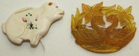 Bakelite Swan Brooch And Pig Bank Brooch