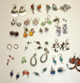 Sterling Silver Lot Of 20 Pair Earrings