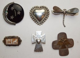 Sterling Silver Lot Of 6 Brooch Pins